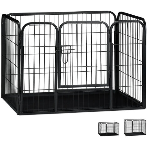 Relaxdays Whelping Pen with Floor Tray, Enclosure for Small Dogs, Puppies and Bunnies, Tall, 63x90x63 cm, Black