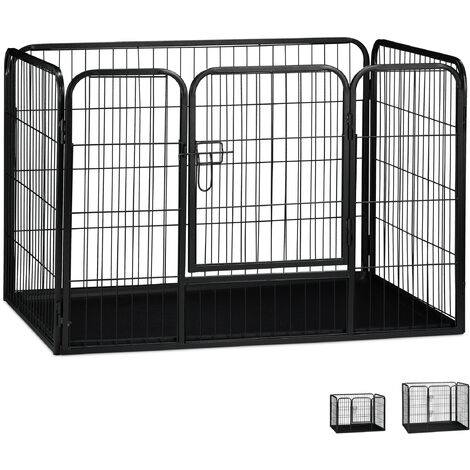 Relaxdays Whelping Pen with Floor Tray, Enclosure for Small Dogs, Puppies and Bunnies, Tall, 70x108x73 cm, Black