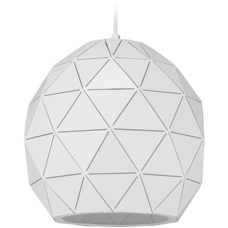 Relaxdays White Hanging Lamp, Geometric Pendant Light, 1 Socket, E27, Modern Steel Lampshade, D: 30 cm, White