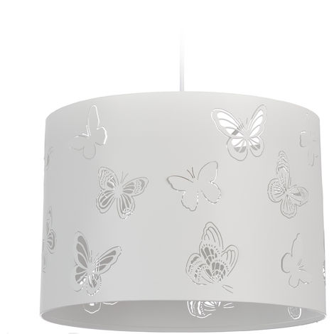 Relaxdays White Hanging Lamp, Round Pendant Light with Butterfly Pattern, 1 Socket, Metal, E27, D: 35.5 cm, White