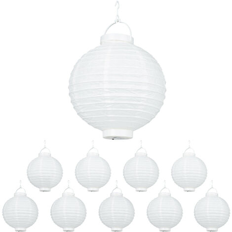 Relaxdays White LED Lampions, 10-Piece Set, Battery-Powered, Indoor & Outdoor, Hangable, Paper Lantern, Ø 20 cm, White