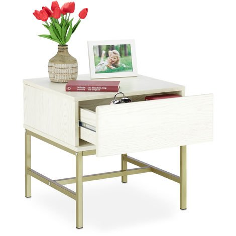 Relaxdays White Nightstand, Square Bedside Table with Drawer, Wood, Golden Metal Frame, 50x50x50 cm, White