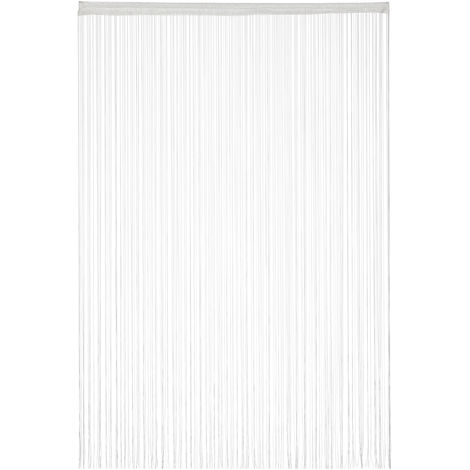 Relaxdays White String Curtains, Can be Shortened, With Eyelet Top for Windows & Doors, Fly Screen, 145x245, White