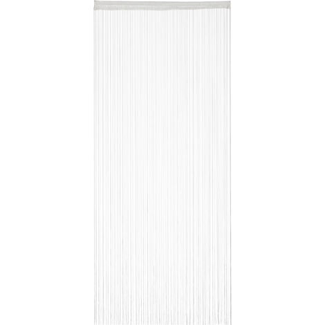 Relaxdays White String Curtains, Can be Shortened, With Eyelet Top for Windows & Doors, Fly Screen, 90x245, White