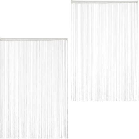 Relaxdays White String Curtains Set of 2, Can be Shortened, With Eyelet Top for Windows & Doors, Fly Screen, 145x245, White