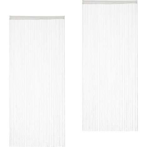 Relaxdays White String Curtains Set of 2, Can be Shortened, With Eyelet Top for Windows & Doors, Fly Screen, 90x245, White