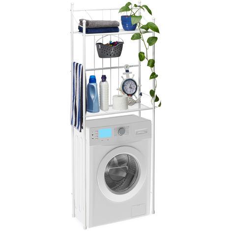 Relaxdays White WC Shelf, 2 Tiers, Over-Rack, Bathroom Washer Shelf, HWD: 166.5 x 59.5 x 26 cm, White