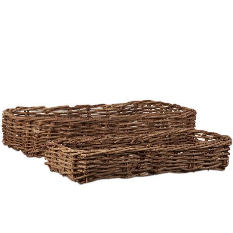 Relaxdays Wicker Baskets Set of 2, Flat Decorative Vine Bins, Handmade Storage Baskets without Handles, Natural