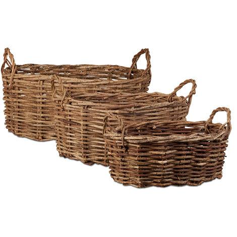 Relaxdays Wicker Baskets Set of 3, Oval Decorative Vine Bins, Handmade Storage Baskets with Handles, Natural