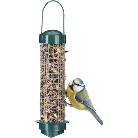 "main image of ""Relaxdays Wild Bird Feeder, Food Dispenser to Hang, Balcony or Garden, PP+Iron, Food Silo H x D: 35 x 9 cm, Green"""