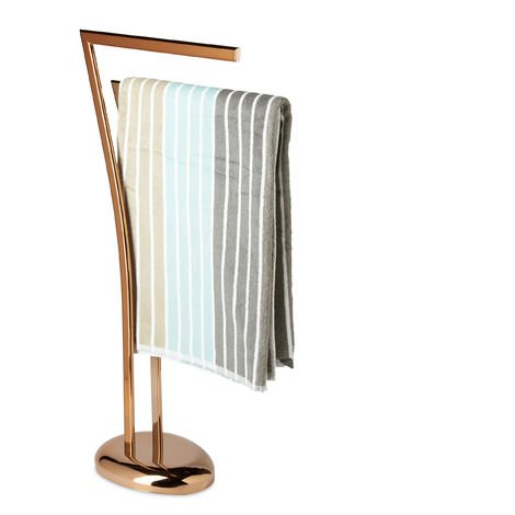 Relaxdays WIMEDO Towel Rack, Size: 84 x 26 x 16 cm Free-Standing Towel Stand in Copper with 2 Towel Rails, Copper