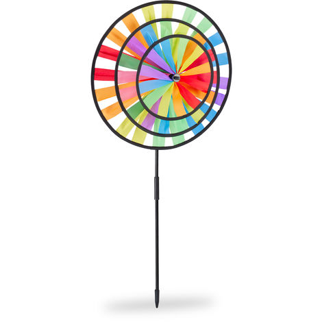 Relaxdays Wind-spinner, Rainbow Coloured Windmill, Children, For Outdoor Use, HWD: 73.5 x 35.5 x 15 cm, Colourful