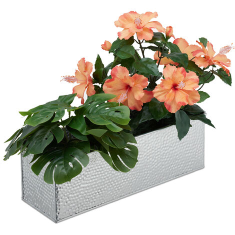 Relaxdays Window Box For Interior, Planter, Metal Cachepot For Flower- and Herb Pots, Rectangular Tub, Assorted Colours