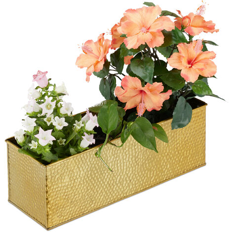 Relaxdays Window Box For Interior, Planter, Metal Cachepot For Flower- and Herb Pots, Rectangular Tub, Gold