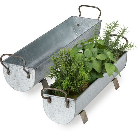Relaxdays Window Box Gutter, Planter Garden & indoors, Set Of 2 Metal Tubs For Plants, Zinc Look, Silver