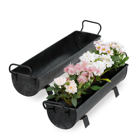"""main image of """"Relaxdays Window Box Gutter, Planter Garden & indoors, Set Of 2 Metal Tubs For Plants, Zinc Look, Silver"""""""