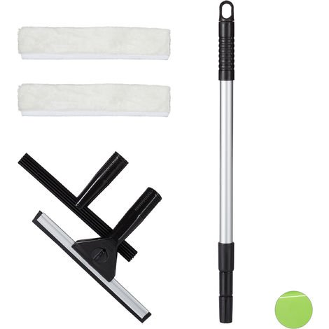 Relaxdays Window Cleaning Set, 5-Piece Pro Set, Squeegee & Washer, With Telescopic Pole, Black