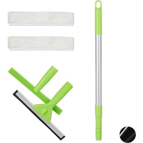 Relaxdays Window Cleaning Set, 5-Piece Pro Set, Squeegee & Washer, With Telescopic Pole, Green