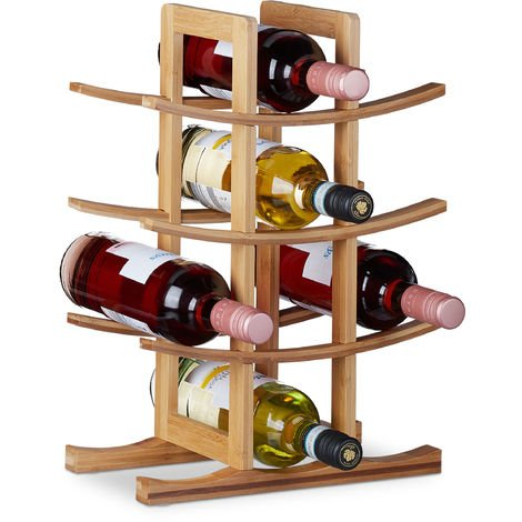 Relaxdays Wine Rack Bamboo, Small Wine Stand For 12 Bottles, 4 Tiers, Horizontal, Freestanding, HWD 42.5x30x16 cm, Natural