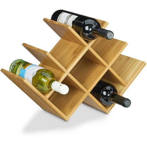 Relaxdays Wine Rack made of High-Quality Bamboo, Size: 31.5 x 47 x 16.5 cm Bottle Holder for up to 8 Bottles, Bottle Shelf Wooden Wine Bottle Holder for Standard Wine Bottles, Natural Brown