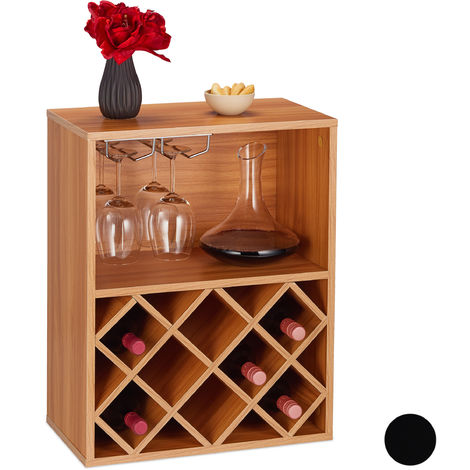 Relaxdays Wine Rack, Storage Space for 8 Bottles, Large Glass Holder, Shelf, HWD 63 x 50 x 28 cm, Brown
