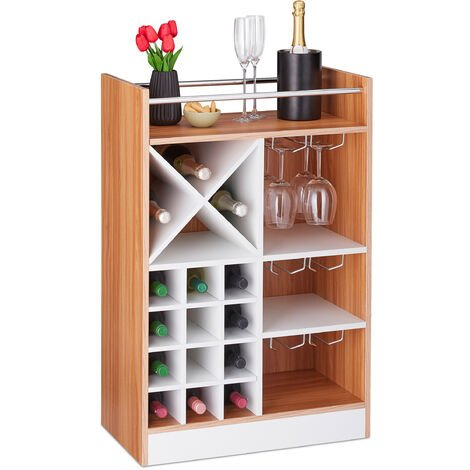 Relaxdays Wine Rack with Glass Holder for 22 Bottles, Freestanding, Prosecco, Home Bar HxWxD: 96 x 63 x 35 cm, Brown