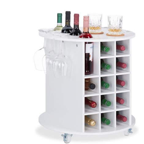 Relaxdays Wine Shelf with 360° Casters, 6 Glass Holders, Wine Storage for 17 Bottles, Round, HxD: 56x54cm ,White