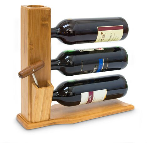 Relaxdays Wine Stand For 3 Bottles: 32 x 12 x 34 cm Wine Shelf Free-Standing Bamboo Bottle Rack With Cork And Bottle Opener Holder Wine Stand, natural