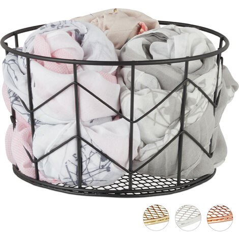 Relaxdays Wire Mesh Basket, Round Vintage Fruit Bowl, Decorative, Metal, ∅ 21.5 cm, Black