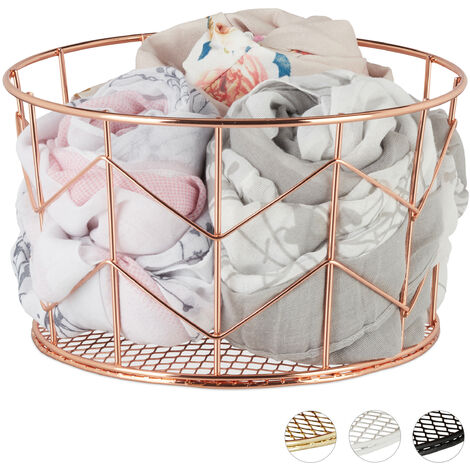 Relaxdays Wire Mesh Basket, Round Vintage Fruit Bowl, Decorative, Metal, ∅ 21.5 cm, Copper