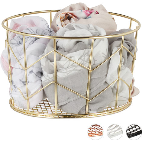 Relaxdays Wire Mesh Basket, Round Vintage Fruit Bowl, Decorative, Metal, ∅ 21.5 cm, Gold
