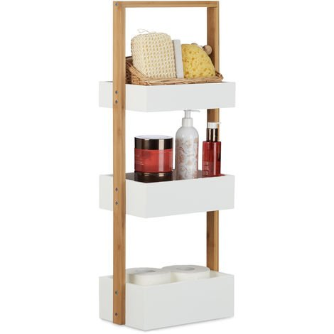 Relaxdays Wood 3 Tier Bathroom Free Standing Shower Caddy Tidy Organiser Shelves, H x W x D: 76 x 30 x 18.5cm, White, Natural