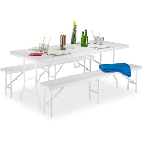 Relaxdays Wood Look Garden Furniture Set, Folding, Metal Frame with Handle, Weatherproof, Plastic, White