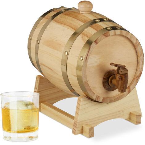 Relaxdays Wooden Barrel 3L, Tap, Lid, Trestle, Whisky, Wine, Liquor Dispenser, H x W x D 23 x 16 x 25.5 cm, Natural