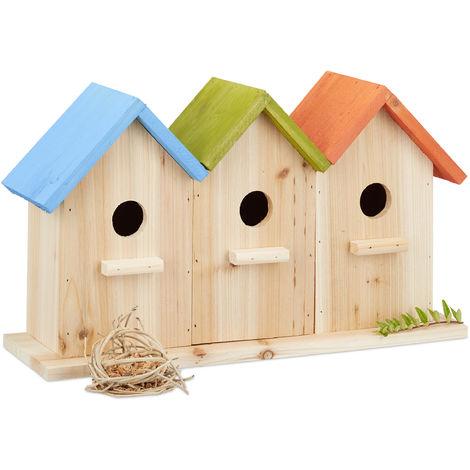 Relaxdays Wooden Birdhouses, 3 Nesting Boxes, Decorative Breeding Aid for Balcony or Garden, HxWxD: 23 x 40 x 12.5 cm, Colourful