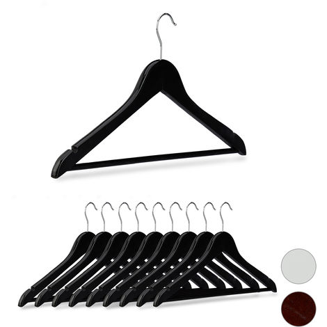 Relaxdays Wooden Coat Hangers Set of 10, Notches, Pants Rail, 360° Swivel Hooks, 44.5 cm Wide, Black