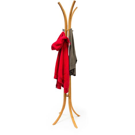 Relaxdays Wooden Coat Stand (175 x 50 x 50 cm) Bamboo Coat Rack Coat Hanger, Natural