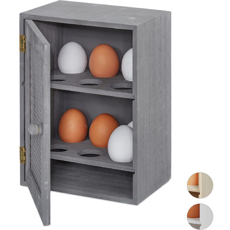 Relaxdays Wooden Egg Cabinet, 12 Pieces, Country House Style, Freestanding, Grey, H x W x D: 25 x 18 x 12 cm