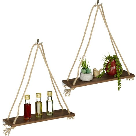 Relaxdays Wooden Floating Shelf with Rope, Set of 2, Display, Decoration, Kitchen, Bedroom, 49 x 43 x 13 cm, Brown