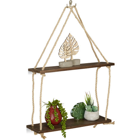 Relaxdays Wooden Floating Shelf with Rope, Set of 2, Display, Decoration, Kitchen, Bedroom, HxWxD: 63 x 43 x 13 cm, Brow