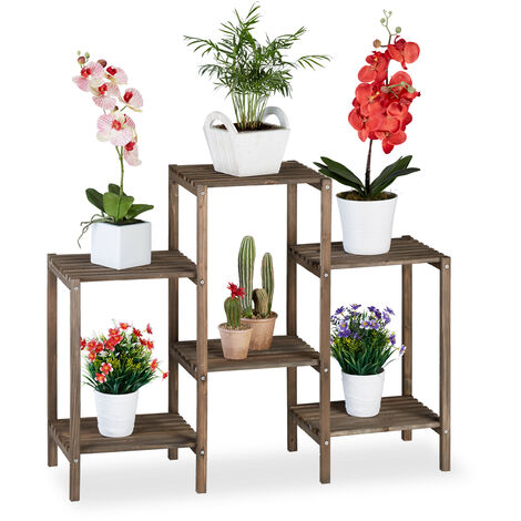 Relaxdays Wooden Flower Ladder Rack, Shabby Look, Indoor Use, Freestanding, Plant Stand, 6 Shelves, 70x89x27 cm, Brown