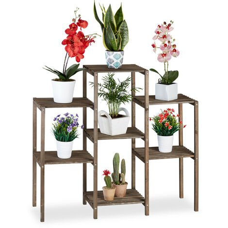 Relaxdays Wooden Flower Ladder Rack, Shabby Look, Indoor Use, Freestanding, Plant Stand, 7 Shelves, 86x95x29 cm, Brown