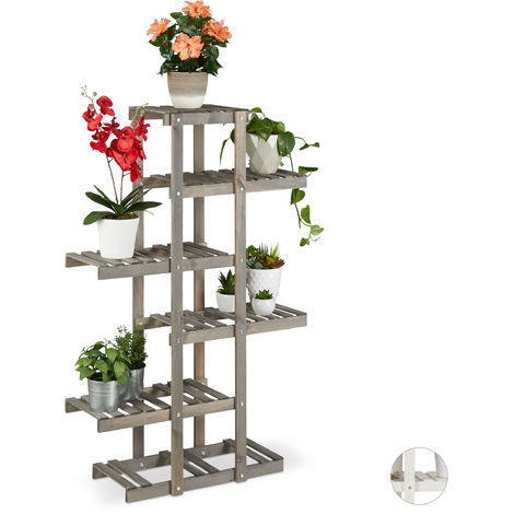 Relaxdays Wooden Flower Rack, 5-Tier Plant Stand, Indoor Flower Shelf, Shabby Look, 125x81x25cm, Grey