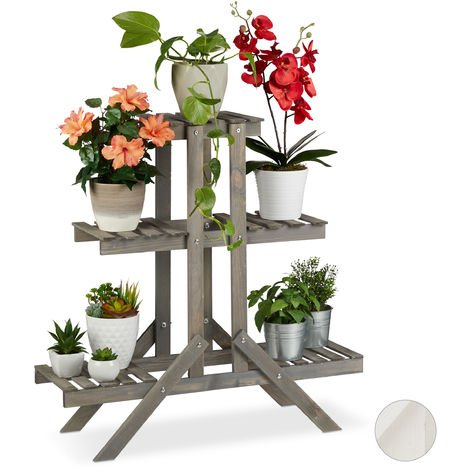 Relaxdays Wooden Flower Shelf, 3 Tier Rack, Plant Stand, HWD: 83 x 83 x 25 cm, Grey