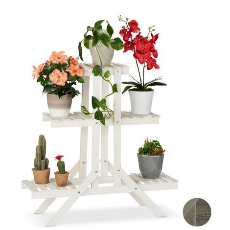 Relaxdays Wooden Flower Shelf, 3 Tier Rack, Plant Stand, HWD: 83 x 83 x 25 cm, White