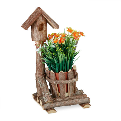 Relaxdays Wooden Flowerpot, Mini Deco Birdhouse & Bark, Round Pot, Rustic Decoration, For Indoor & Outdoor Use, Brown