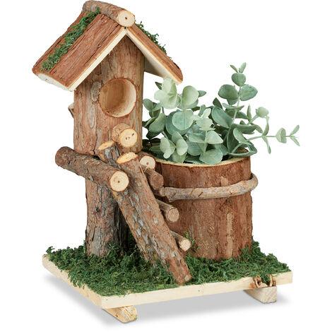 Relaxdays Wooden Flowerpot, Mini Deco Birdhouse & Moss, Tree Trunk Planter Design, Rustic, Indoor&Outdoor Use, Brown