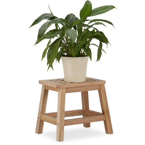 Relaxdays Wooden Footstool, Natural Wooden Footrest, Flower Stand Walnut, HWD: 25.5 x 29.5 x 22 cm, Natural