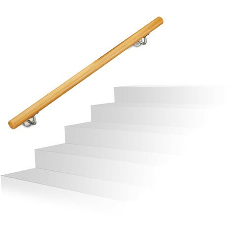 Relaxdays Wooden Handrail, Beech, 1000 mm/100 cm/1 m, Wall-Mount, With Plugs, Rustic 42 mm Diameter, Natural Banister