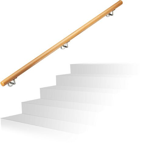 """main image of """"Relaxdays Wooden Handrail, Beech, 1500 mm/150 cm/1.5 m, Wall-Mount, With Plugs, Rustic 42 mm Diameter, Natural Banister"""""""